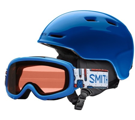 JUNIORSKI KASK I GOGLE SMITH COMBO 18/19 ZOOM + GAMBLER Blue