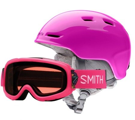 JUNIORSKI KASK I GOGLE SMITH COMBO 18/19 ZOOM + GAMBLER Pink